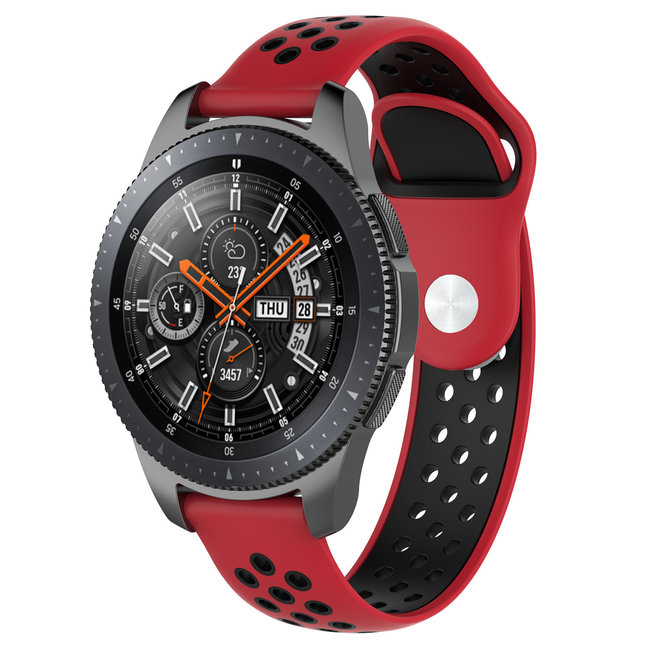 Merk 123watches Samsung Galaxy Watch silicone dubbel band - rood zwart