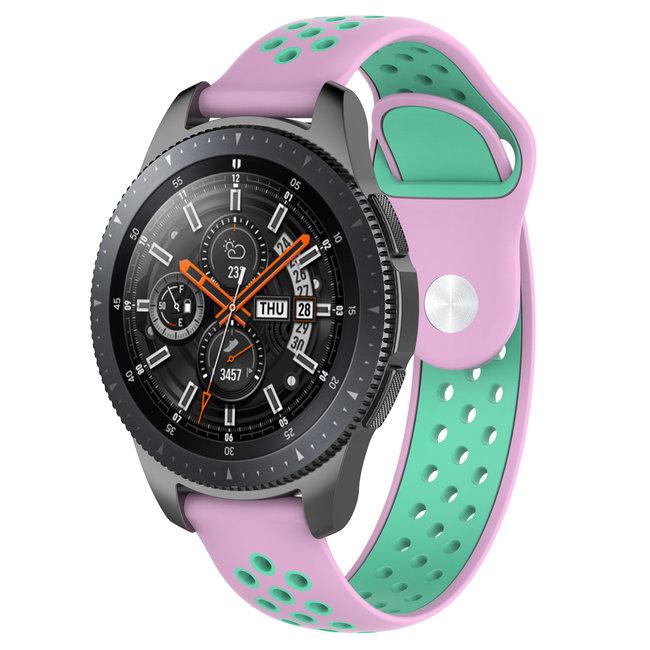 Merk 123watches Samsung Galaxy Watch silicone dubbel band - roze groenblauw