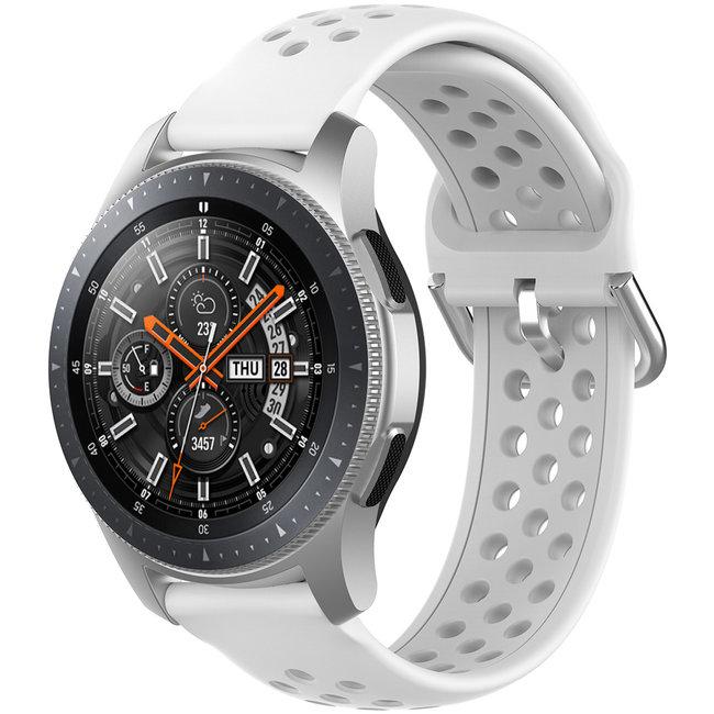 Merk 123watches Samsung Galaxy Watch silicone dubbel gesp band - wit