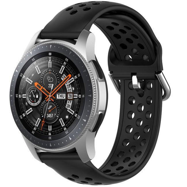 Merk 123watches Samsung Galaxy Watch silicone dubbel gesp band - zwart