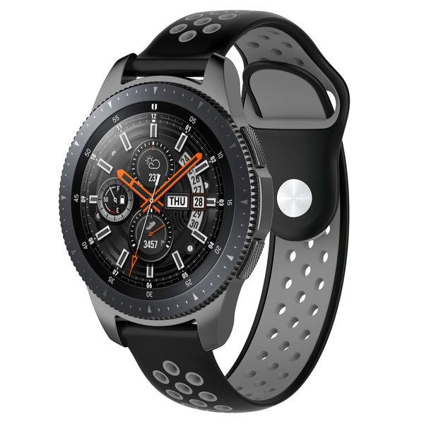 123Watches Samsung Galaxy Watch silicone dubbel band - zwart grijs