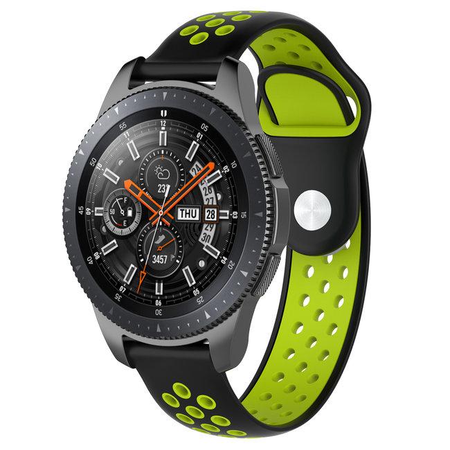 123Watches Samsung Galaxy Watch silicone dubbel band - zwart groen