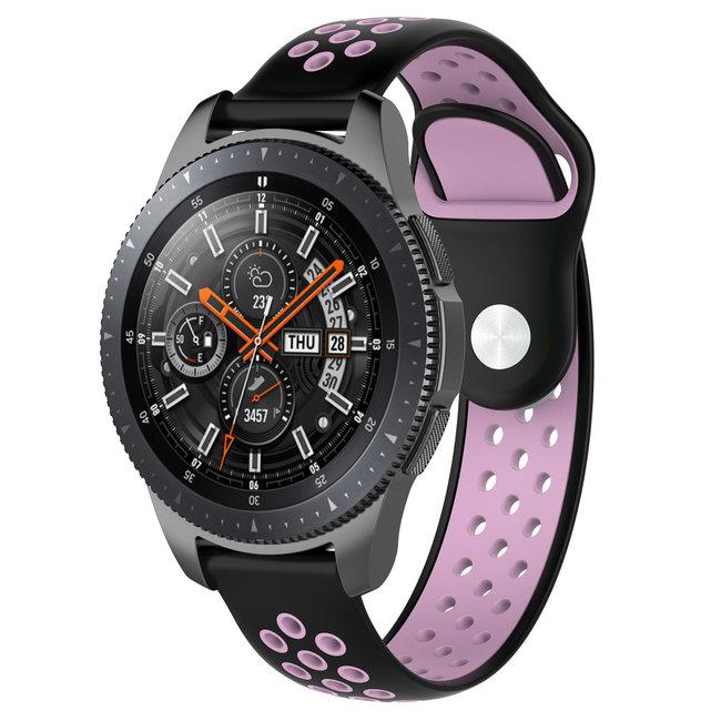 Samsung Galaxy Watch silicone dubbel band - zwart roze