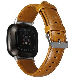 Merk 123watches Fitbit Versa 3 / Sense genuine leren band - lichtbruin