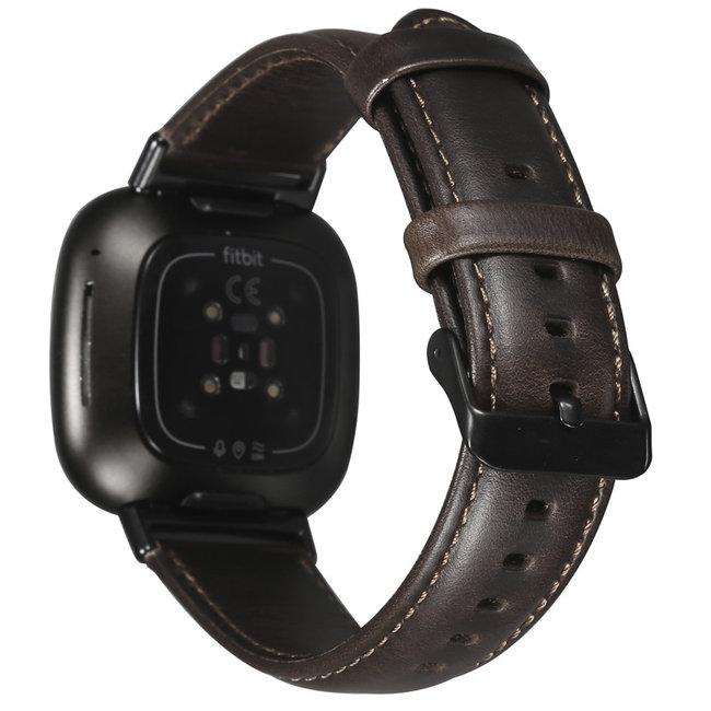 Fitbit Versa 3 / Sense genuine leren band - donkerbruin