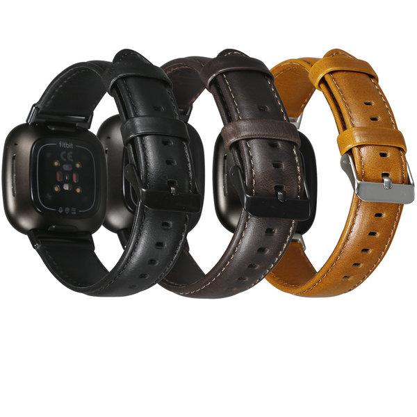 123Watches Fitbit Versa 3 / Sense genuine leren band - donkerbruin