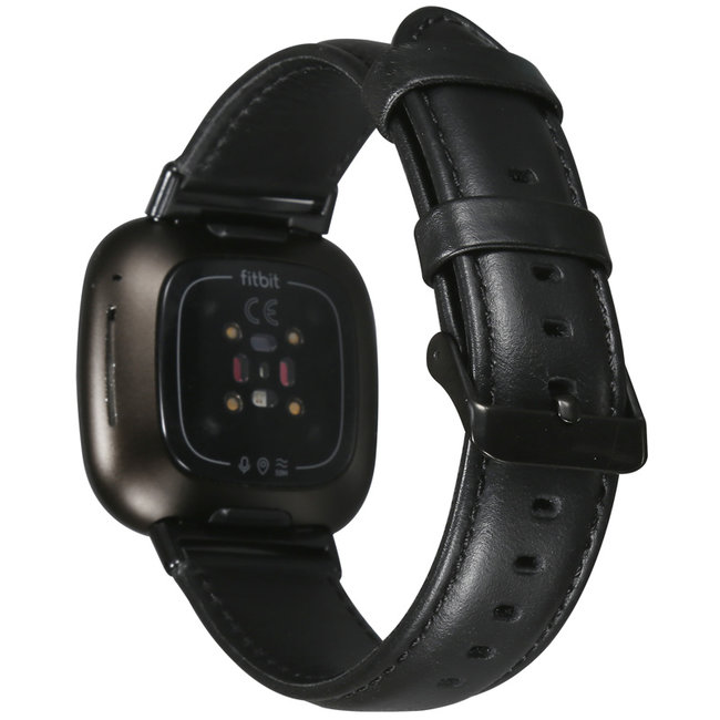 Fitbit Versa 3 / Sense genuine leren band - zwart
