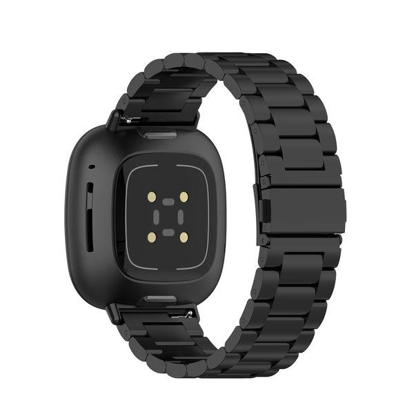 123Watches Fitbit Versa 3 / Sense beads steel link band - black