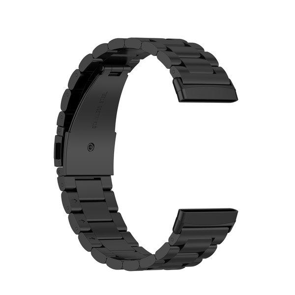 123Watches Fitbit Versa 3 / Sense kralen stalen schakel band - zwart