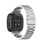 123Watches Fitbit Versa 3 / Sense beads steel link band - silver