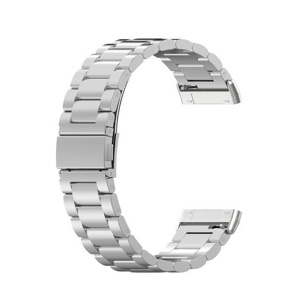 123Watches Fitbit Versa 3 / Sense kralen stalen schakel band - zilver