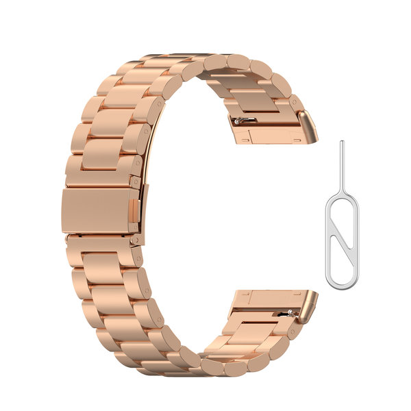 123Watches Fitbit Versa 3 / Sense beads steel link band - rose gold