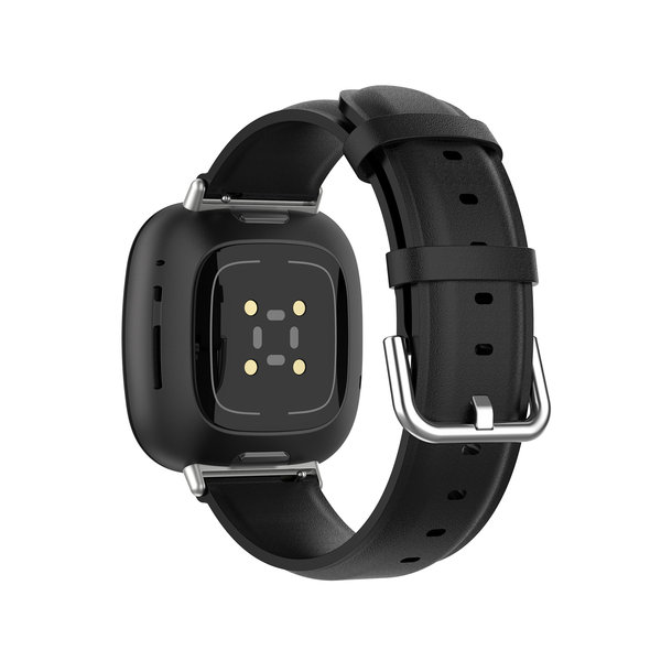 123Watches Fitbit Versa 3 / Sense leather band - black