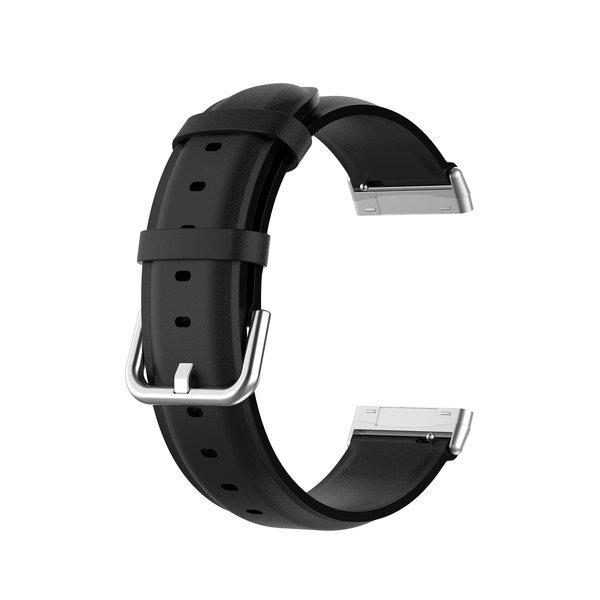 123Watches Fitbit Versa 3 / Sense leren band - zwart