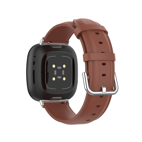 123Watches Fitbit Versa 3 / Sense leren band - bruin