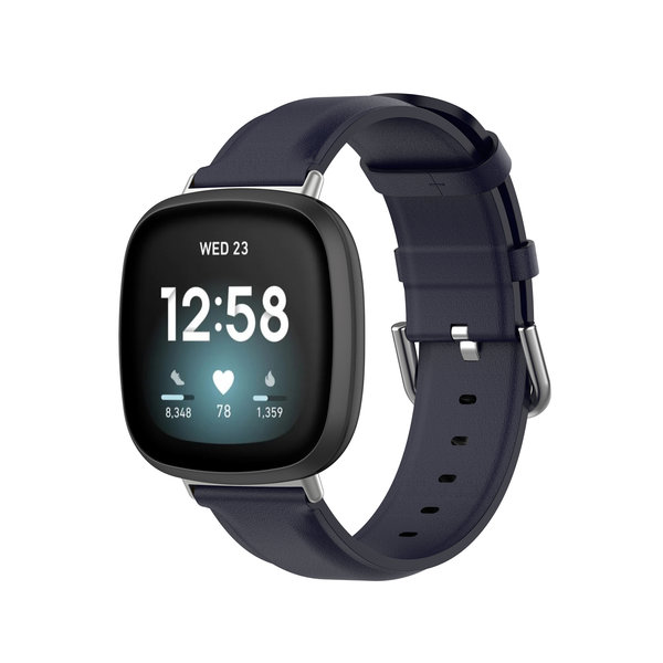 123Watches Fitbit Versa 3 / Sense leather band - blue