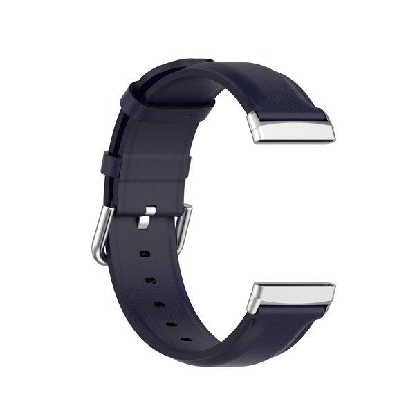 123Watches Fitbit Versa 3 / Sense leren band - blauw