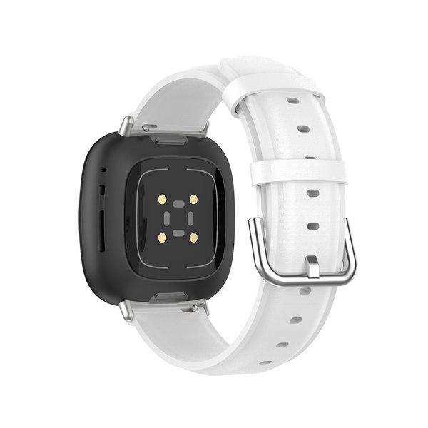 123Watches Fitbit Versa 3 / Sense bracelet en cuir  - blanc