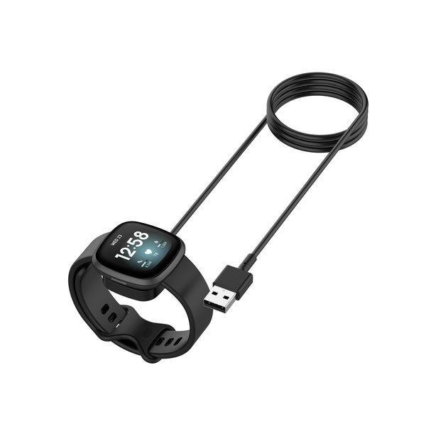 123Watches Fitbit Versa 3 / Sense usb oplader - zwart