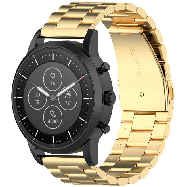 Merk 123watches Huawei watch GT drie stalen schakel beads band - goud