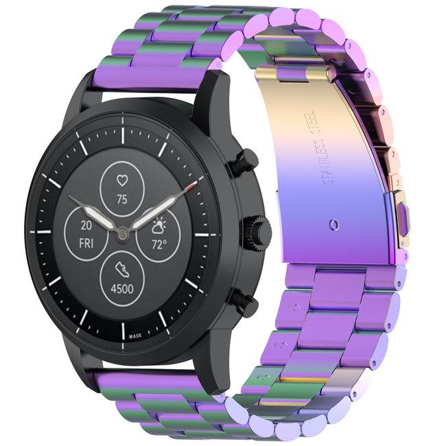 Merk 123watches Huawei watch GT drie stalen schakel beads band - kleurrijk
