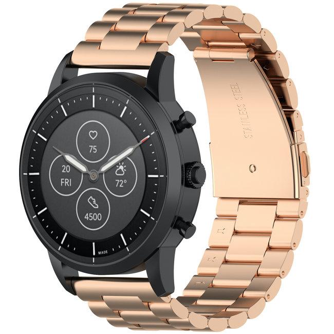 Huawei watch GT drie stalen schakel beads band - rose goud