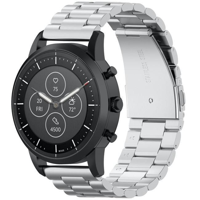 Merk 123watches Huawei watch GT drie stalen schakel beads band - zilver