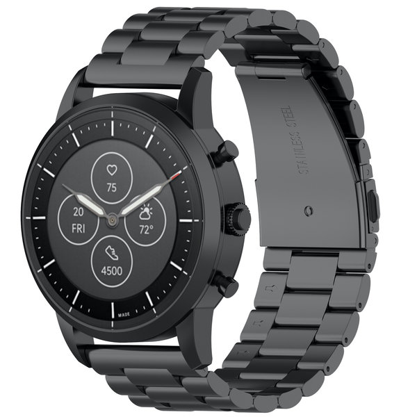 123Watches Huawei watch GT drie stalen schakel beads band - zwart