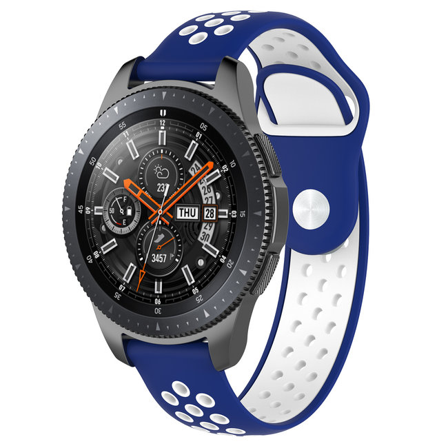 Merk 123watches Huawei watch GT silicone dubbel band - blauw wit