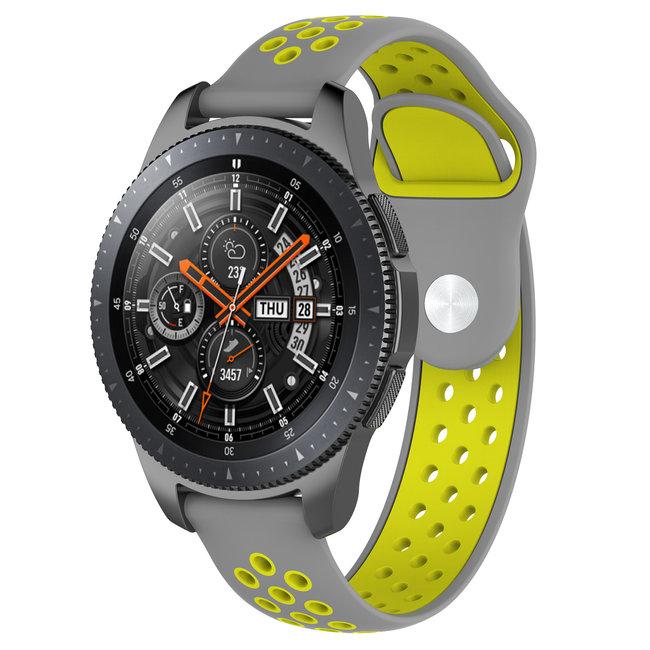 Merk 123watches Huawei watch GT silicone dubbel band - grijs geel
