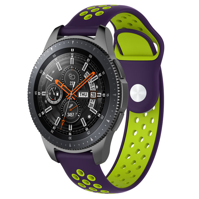 123Watches Huawei watch GT silicone dubbel band - paars groen