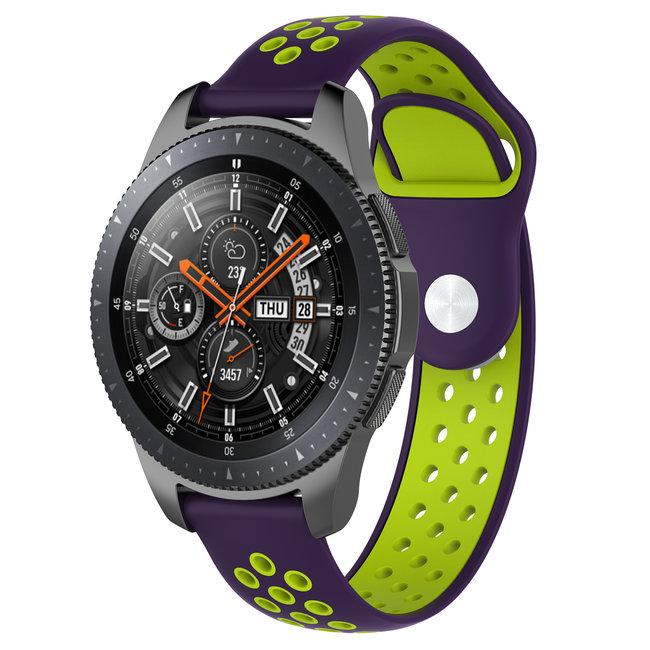 Merk 123watches Huawei watch GT silicone dubbel band - paars groen