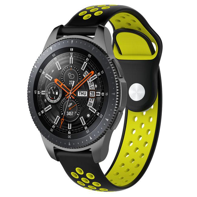 Merk 123watches Huawei watch GT silicone dubbel band - zwart geel