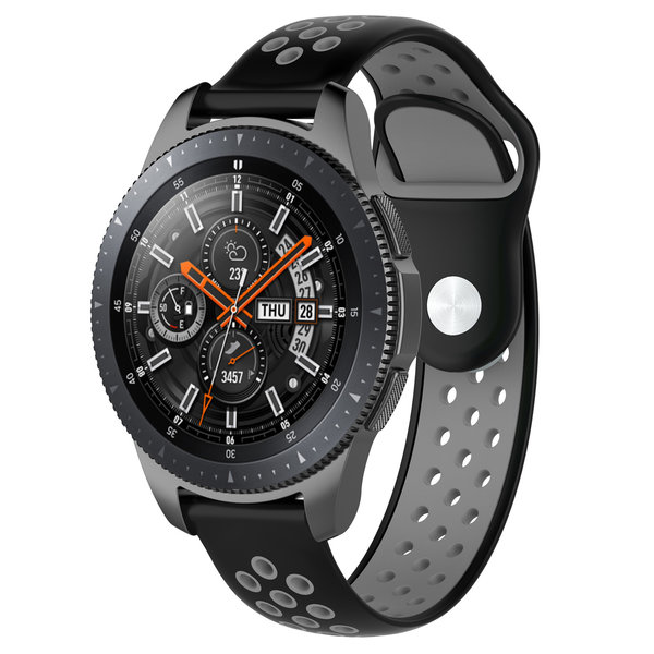 123Watches Huawei watch GT silicone dubbel band - zwart grijs