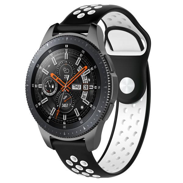 123Watches Huawei watch GT silicone dubbel band - zwart wit
