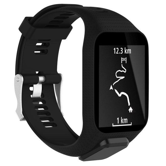 Merk 123watches TomTom Runner / Spark / Adventure silicone gesp band - zwart