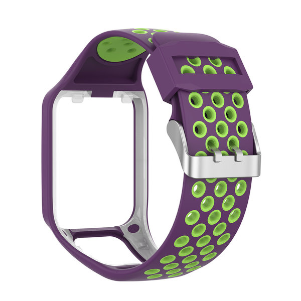 123Watches TomTom Runner / Spark / Adventure Silicone double buckle strap - purple green