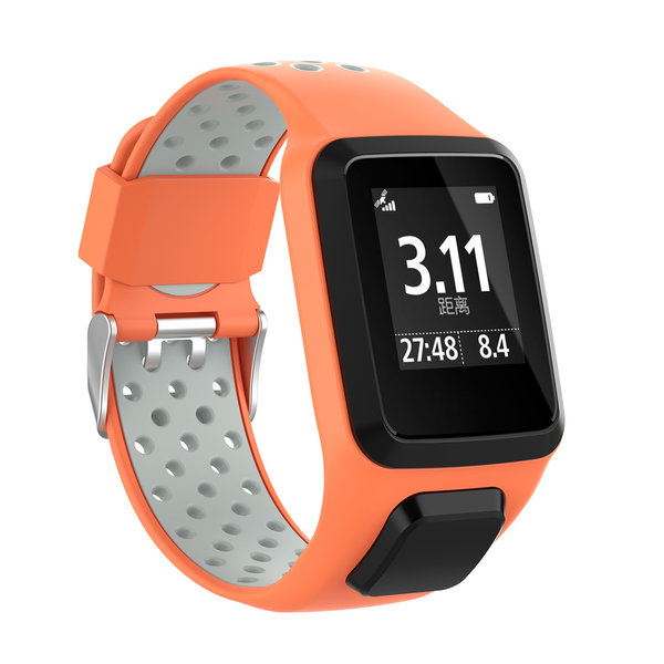 123Watches TomTom Runner / Spark / Adventure Silicone double buckle strap - orange gray