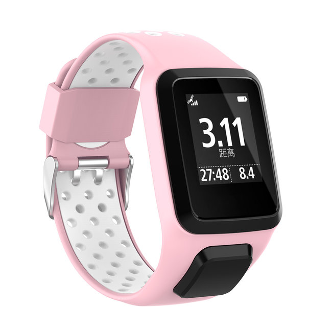 123Watches TomTom Runner / Spark / Adventure Silicone double buckle strap - pink white