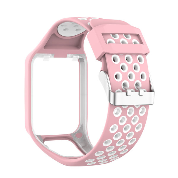 123Watches TomTom Runner / Spark / Adventure silicone dubbel gesp band - roze wit
