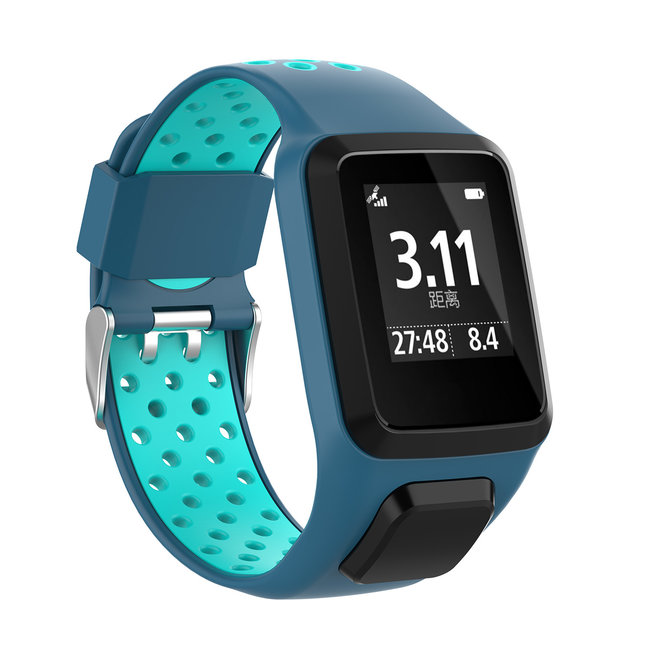TomTom Runner / Spark / Adventure Silicone double buckle strap - blue tahou blue