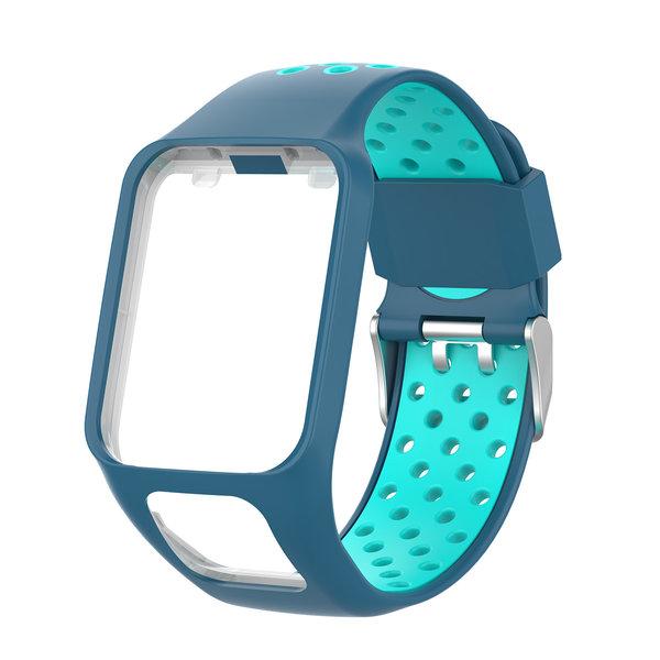 123Watches Bracelet en silicone à double boucle TomTom Runner / Spark / Adventure - bleu bleu tahou