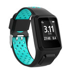 123Watches TomTom Runner / Spark / Adventure Silicone double buckle strap - black tahou blue