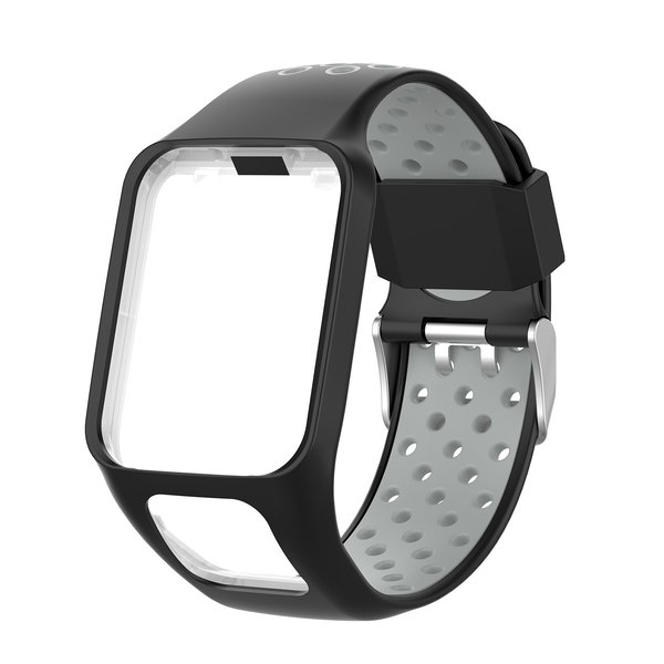123Watches TomTom Runner / Spark / Adventure Silicone double buckle strap - black / gray