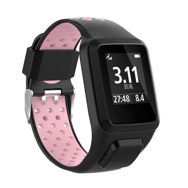 TomTom Runner / Spark / Adventure Silicone double buckle strap - black pink