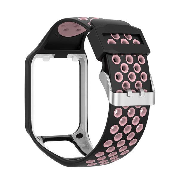 123Watches TomTom Runner / Spark / Adventure silicone dubbel gesp band - zwart roze