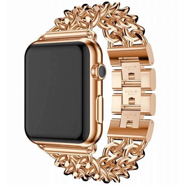 Merk 123watches Apple watch stalen cowboy schakel band - rose goud