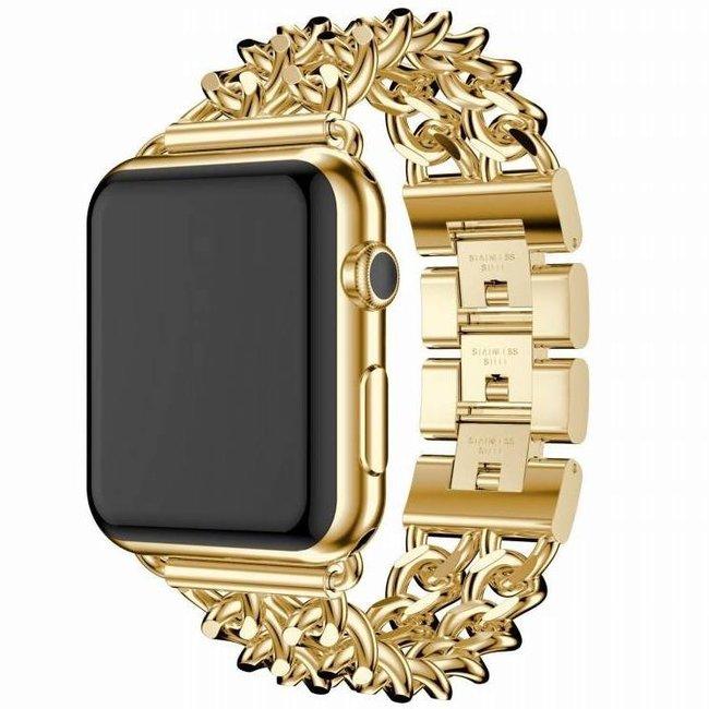 Merk 123watches Apple watch stalen cowboy schakel band - goud
