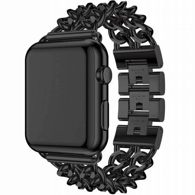 Merk 123watches Apple watch stalen cowboy schakel band - zwart