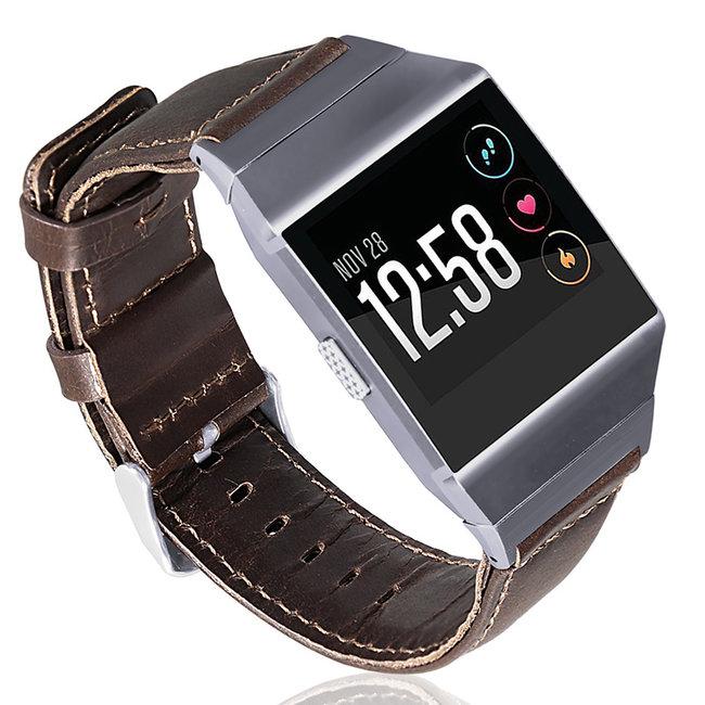 Merk 123watches Fitbit Ionic genuine leren band - donkerbruin